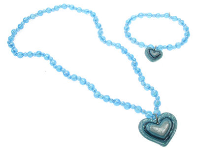 Girls Blue Beaded Heart Jewellery Set