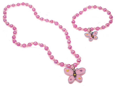 Girls Pink Butterfly Jewellery Set