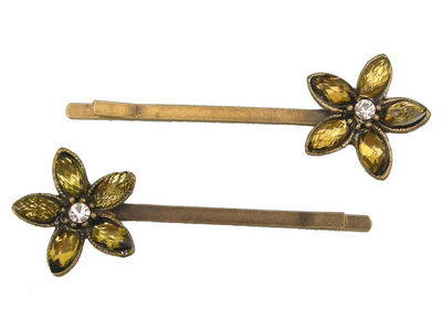Daisy Crystal Hair Slides - Green