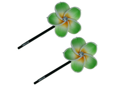 Green Flower Top Hair Slides