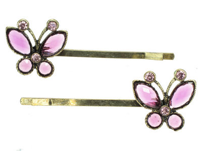 Antique Butterfly Crystal Hair Slides - Purple