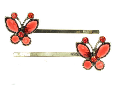 Antique Butterfly Crystal Hair Slides - Red