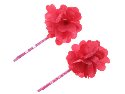Pair Of Pink Flower Hair Slides