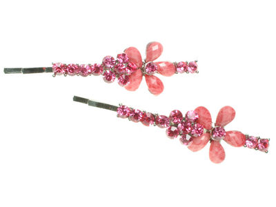 Pink Double Flower Crystal Hair Slides