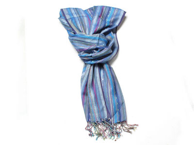 Blue Jessica Striped Fashion Scarf