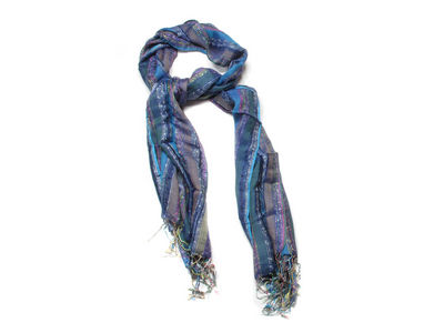 Blue Colette Striped Fashion Scarf