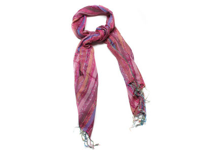 Deep Pink Colette Striped Fashion Scarf