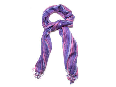 Purple Naomi Ladder Striped Fashion Scarf