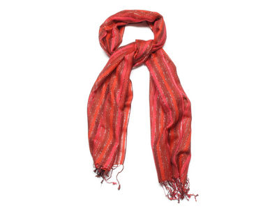 Red Naomi Ladder Striped Fashion Scarf