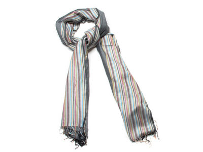 Grey Donna Striped Fashion Scarf