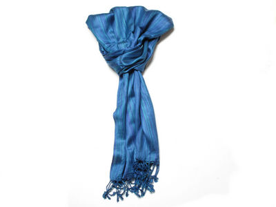 Blue Zoe Striped Fashion Scarf
