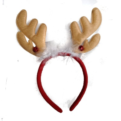 Christmas Bell Brown Reindeer Antlers Headband