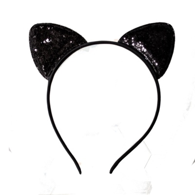Small Black Glitter Cat Ears Narrow Hair Band Headband