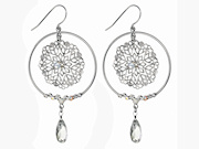Crystal Filigree Disc Earrings