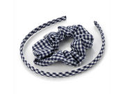 Girls Navy Blue Gingham Scrunchie and Headband School Hair Set