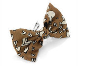 Brown Heart Fabric Bow Barrette
