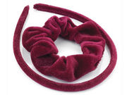 Girls Burgundy Velvet Scrunchie and Headband Hair Set
