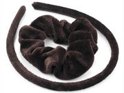 Girls Brown Velvet Scrunchie and Headband Hair Set