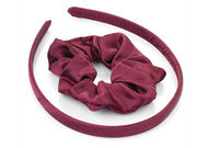 Girls Burgundy Satin Scrunchie and Headband Hair Set
