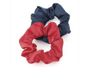 Red and Navy Satin Hair Scrunchie Bobbles