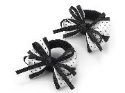 White Black Spot Bow Ponio Donut Hair Bobbles