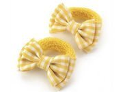 Yellow Gingham Bow Ponio Donut School Hair Bobbles