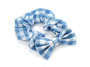Girls Light Blue Gingham Check Bow School Hair Scrunchie Bobble