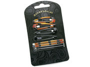 Tort Brown Black Hair Clip Grip Set