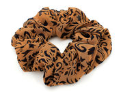 Brown Black Floral Scrunchie