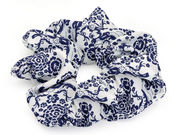 Navy White Floral Scrunchie
