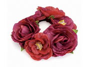 Red Floral Bun Garland Scrunchie