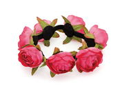 Deep Pink Rose Bun Garland Scrunchie