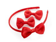 Red Ribbon Bow Headband Set