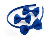 Royal Blue Ribbon Bow Headband Set