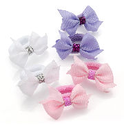 Pink Lilac White Bow Ponio Hair Bobbles