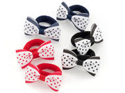 Red Black Navy Polka Dot Bow Ponio Hair Bobbles