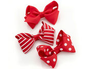 Red Printed Bow Hair Clips