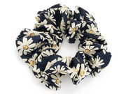 Dark Navy Daisy Flower Scrunchie