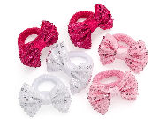 Pink Sequin Bow Ponio Hair Donut Band Set
