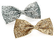 Two piece gold and silver colour glitter hair bow clip set.