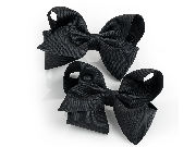 Two piece black hair bow on clip set