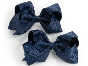 Two piece Navy Blue hair bow on clip set.