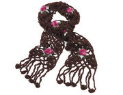 Brown Rose Chunky Lace Knit Winter Scarf