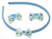 Blue Bow Alice Band Set