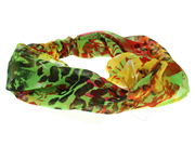 Green Abstract Floral Elasticated Headwrap