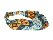 Blue Aztec Elasticated Headwrap
