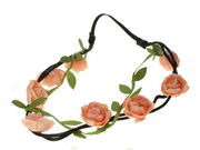 Peach Rose Vine Garland Festival Head Band