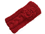 Dark Red Flower Knitted Winter Headband