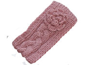 Dusky Pink Flower Knitted Winter Headband