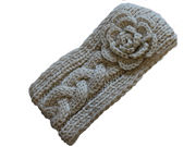 Cream Flower Knitted Winter Headband